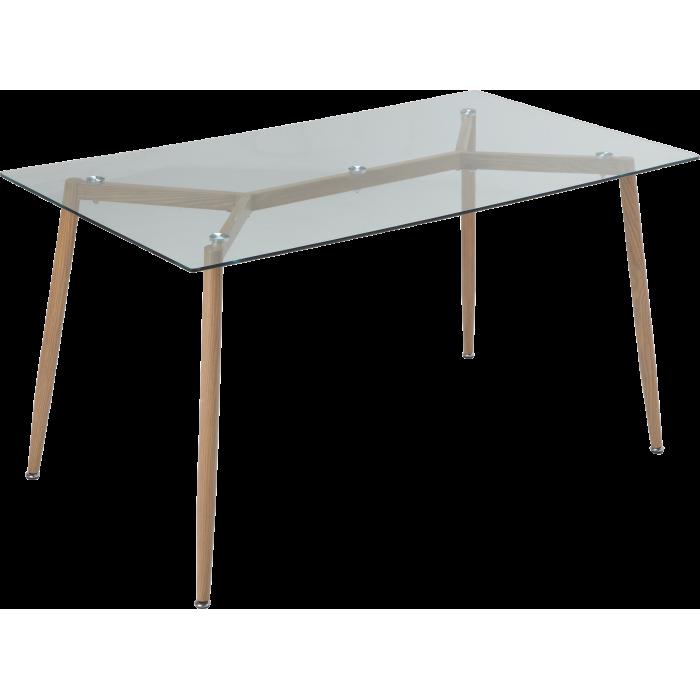 Стол GT K-4006 (140x80x76) Clear glass/Wooden